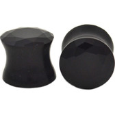 "Black Pyrex Glass Solid Gem Style Ear Plugs (0g-5/8"")"