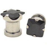 "Black Square Diamond Cut Steel Ear Plugs (8g-1/2"")"