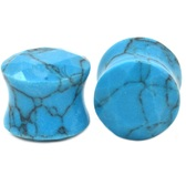 "Brilliant Cut Turquoise Stone Ear Plugs (4g-5/8"")"