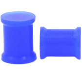 "Blue Solid Silicone Double Flared Ear Plugs (8g-1"")"