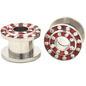 "Red/Clear Double Gem Row Tunnels Plugs (8g-3/4"")"