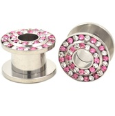 "Pink/Clear Double Gem Row Tunnels Plugs (8g-3/4"")"