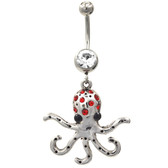 Stainless Steel Octopus Red Gems Belly Ring