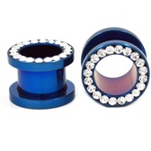 "Blue Titanium Gem Rim Screw Fit Tunnels (8g-1/2"")"