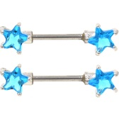 PAIR - Aqua Double Gem Star Steel Nipple Bars 14g 9/16""