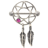 PAIR - Pink Dreamcatcher Dangle Nipple Shields 14g