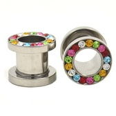 "Rainbow Gem Rim Screw Fit Steel Tunnels (8g-1/2"")"