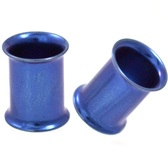 Blue Titanium Double Flared Tunnel Plugs (12g-1 Inch)