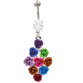 Bouquet of Multi Colored Roses Fancy Belly Ring