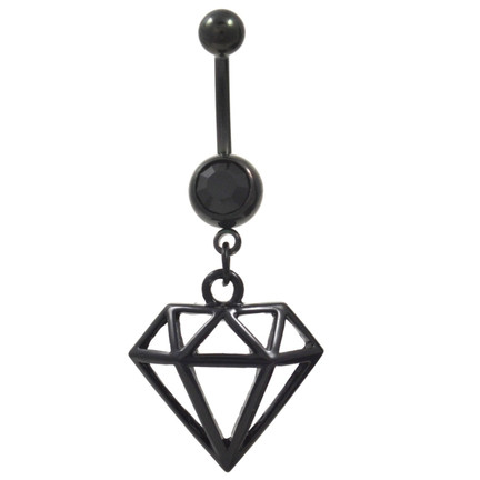 black shaped dangle belly button ring bodydazz