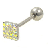 AB Ferido Gems Square Top Barbell 14G 5/8""