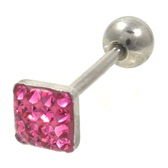 Pink Ferido Gems Square Top Barbell 14G 5/8""