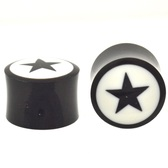 "Black and White Star Inlay Organic Ear Plugs (6g-1"")"