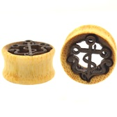 """Blonde Wood Nautical Anchor Tunnel Plugs (1/2-1"""")"""