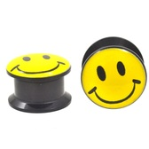 "All Smiles Happy Face Screw Fit Acrylic Plugs (12g-15/16"")"