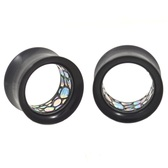 "Pebbled Abalone Inlay Acrylic Tunnel Plugs (0g-1"")"