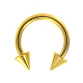 Gold Plated Spike Ends Horseshoe Circular 14G