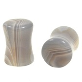 "Grey Agate Gem Stone Ear Plugs (6g-1"")"