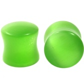 "Green Cat's Eye Gem Stone Ear Plugs (2g-5/8"")"