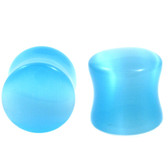 "Blue Cat's Eye Gem Stone Ear Plugs (2g-5/8"")"