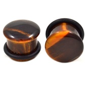 Tiger Eye Stone Single Flared Ear Plugs (6g-5/8)