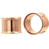 "Rose Gold Plated Double Flared Tunnels Plugs (8g-1"")"