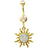 Gold Plated Tribal Sun w/AB Gems Belly Ring