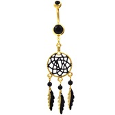 Gold & Black Fancy Dreamcatcher Belly Ring