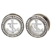 "Silver Anchor CZ Gem Rim Steel Tunnel Plugs (0g-1"")"
