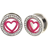 "Pink Heart CZ Gem Rim Steel Tunnel Plugs (0g-15/16"")"
