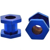 Blue Titanium Hexagon Screw Tunnels (10g-00g)