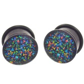 "Abalone Color Glitter Single Flared Plugs (6g-5/8"")"