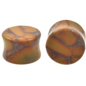 "Orange/Brown Bamboo Jasper Stone Plugs (6g-1"")"