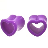 "Purple Acrylic Heart Shaped Tunnel Plugs (0g-5/8"")"