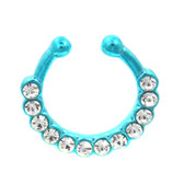 Neon Blue 12 Clear CZ Gem Fake Septum Ring Jewelry