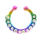 Rainbow Color CZ/Opal Mix Fake Septum Ring Jewelry