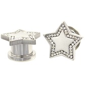 "Clear CZ Gem Outlined Star Screw Ear Plugs (2g-5/8"")"