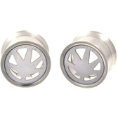 "Stainless Steel Marijuana Leaf Center Tunnels (0g-5/8"")"