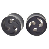"Black Tribal Shuriken Style Ear Plugs (00g-13/16"")"