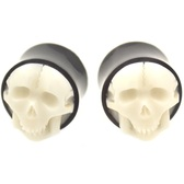 "Stark White Carved Skull Organic Ear Plugs (0g-1"")"