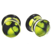 "Green Spotted Pyrex Glass Double Flared Plugs (8g-5/8"")"