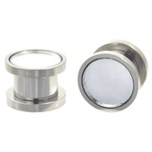 "Mirror Face Stainless Steel Screw Fit Ear Plugs (4g-5/8"")"