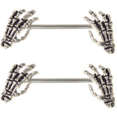 PAIR - Hands of A Skeleton Nipple Barbells 14g 7/8""