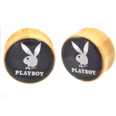 "Bamboo Wood Black/White Playboy Bunny Plugs (2g-1"")"