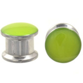 "Green Glow In The Dark Dome Steel Plugs (4g-1/2"")"