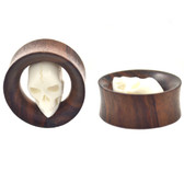 Fierce Ivory Skull Wood Tunnels Plugs (19mm-35mm)