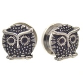 The Wise Black CZ Eyed Owl Screw Fit Plugs (8mm-20mm)