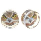 "Focused Owl Clear Acrylic Saddle Plugs (2g-15/16"")"