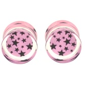 "Pink/Black Starburst Clear Acrylic Ear Plugs (2g-5/8"")"