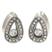 "Clear CZ Gem Rim Teardrop Shape Tunnels (2g-1/2"")"